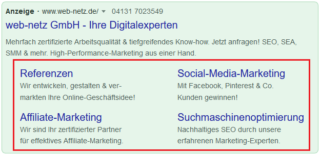 Screenshot Google Ads Sitelinks von web-netz.de