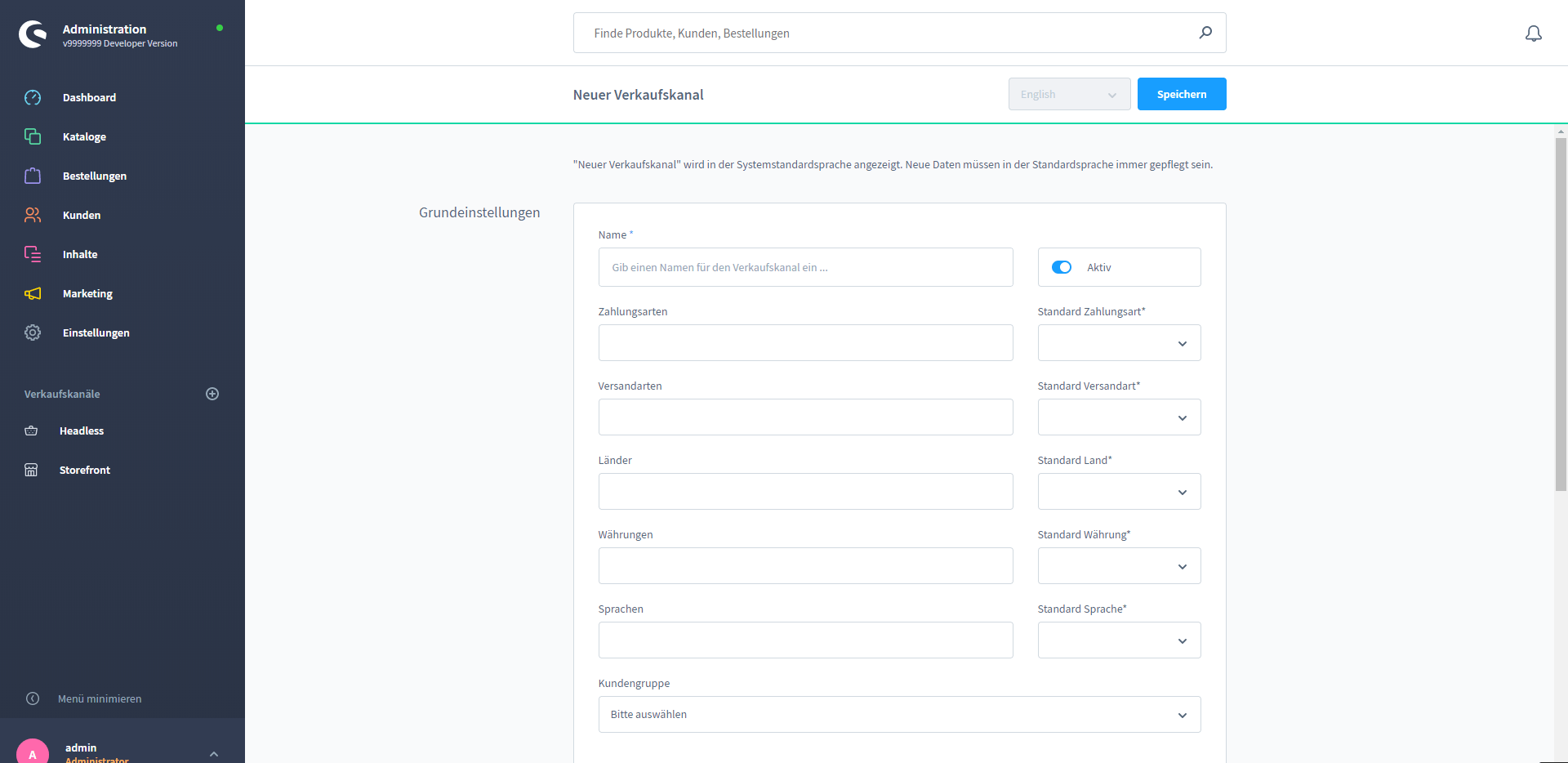 Screenshot Shopware6 Sales-Channels