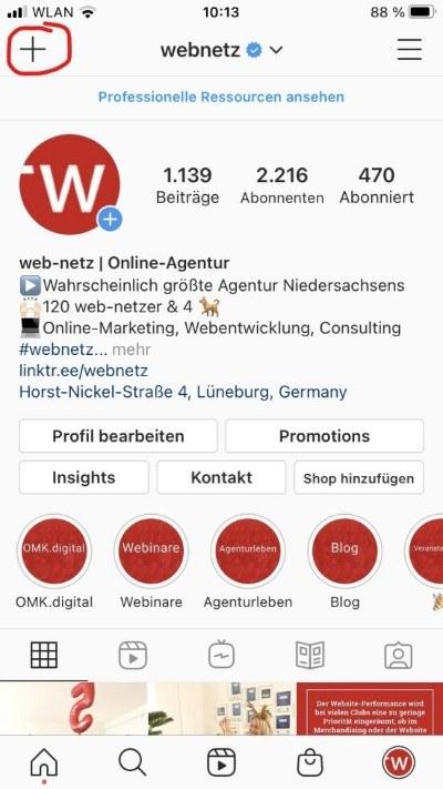 Instagram Guides ist über das Content-Menü auf dem Profil zu erreichen. webnetz instagram kanal