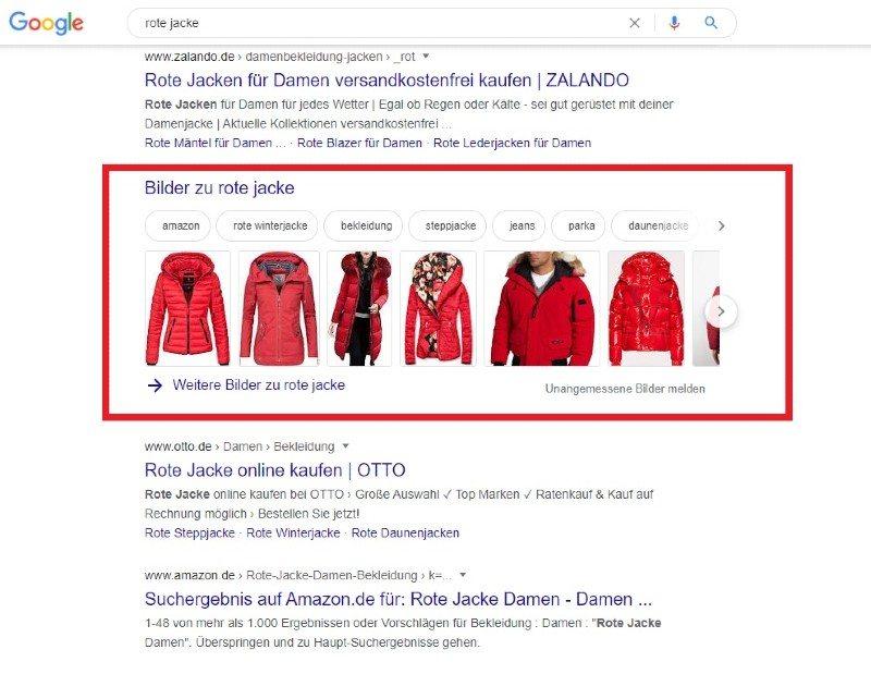 Screenshot der Google Suchergebnisse zu dem Begriff rote Jacke