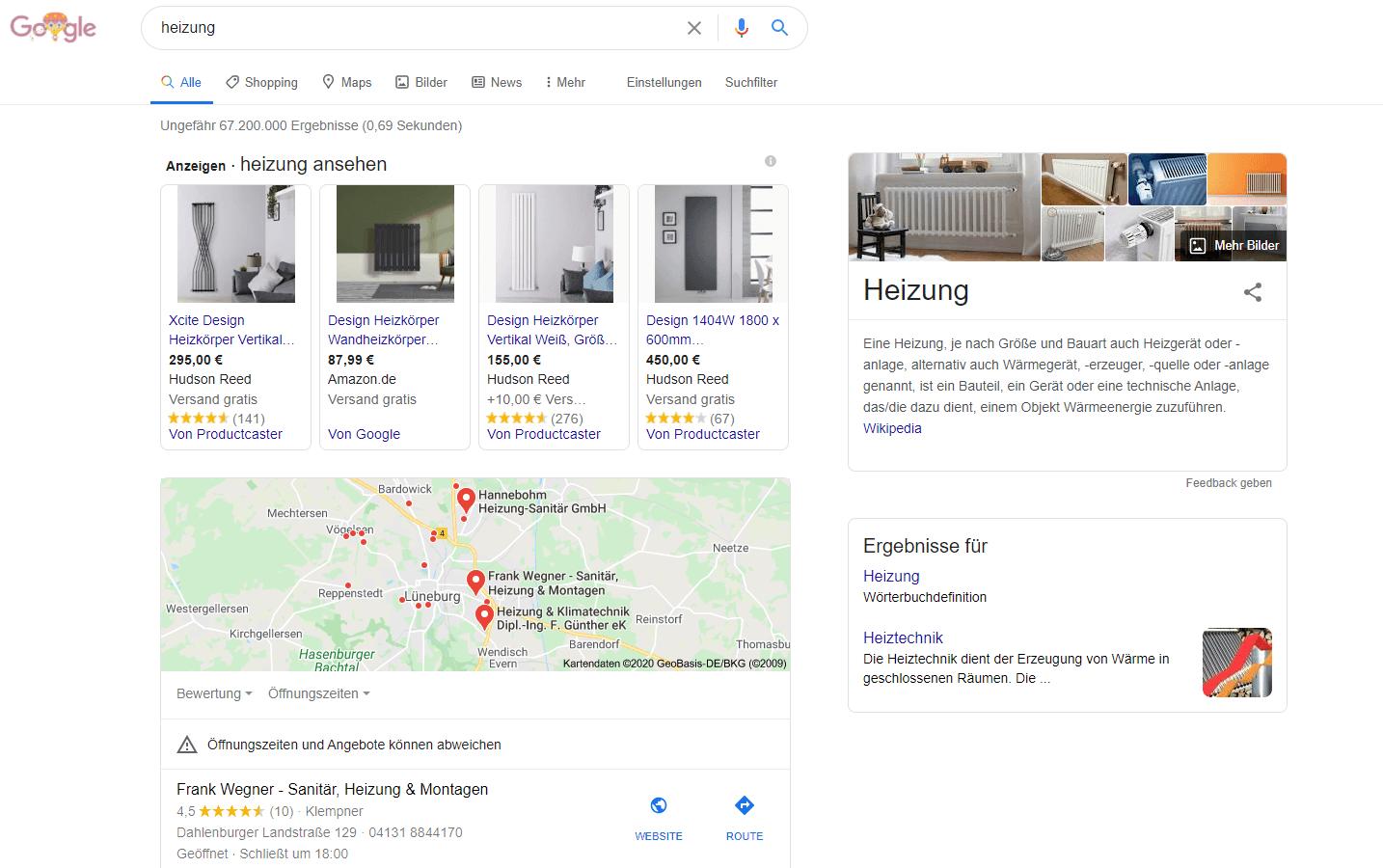 Screenshot der SERPs zum Suchbegriff Heizung