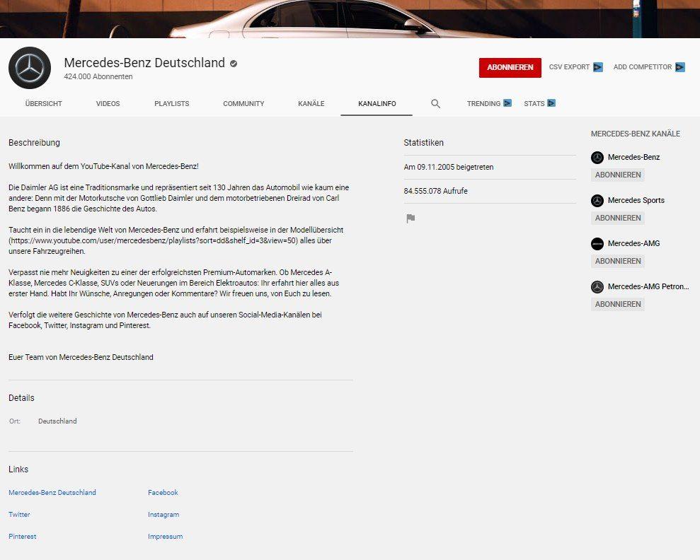 Die Ansicht der Kanalbeschreibung von Automobilhersteller Mercedes Benz.