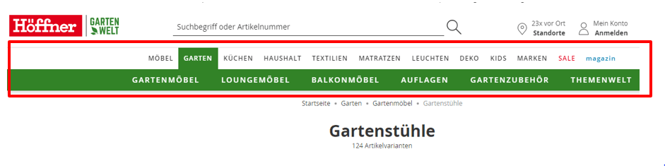 Screenshot der Website-Navigation von hoeffner.de