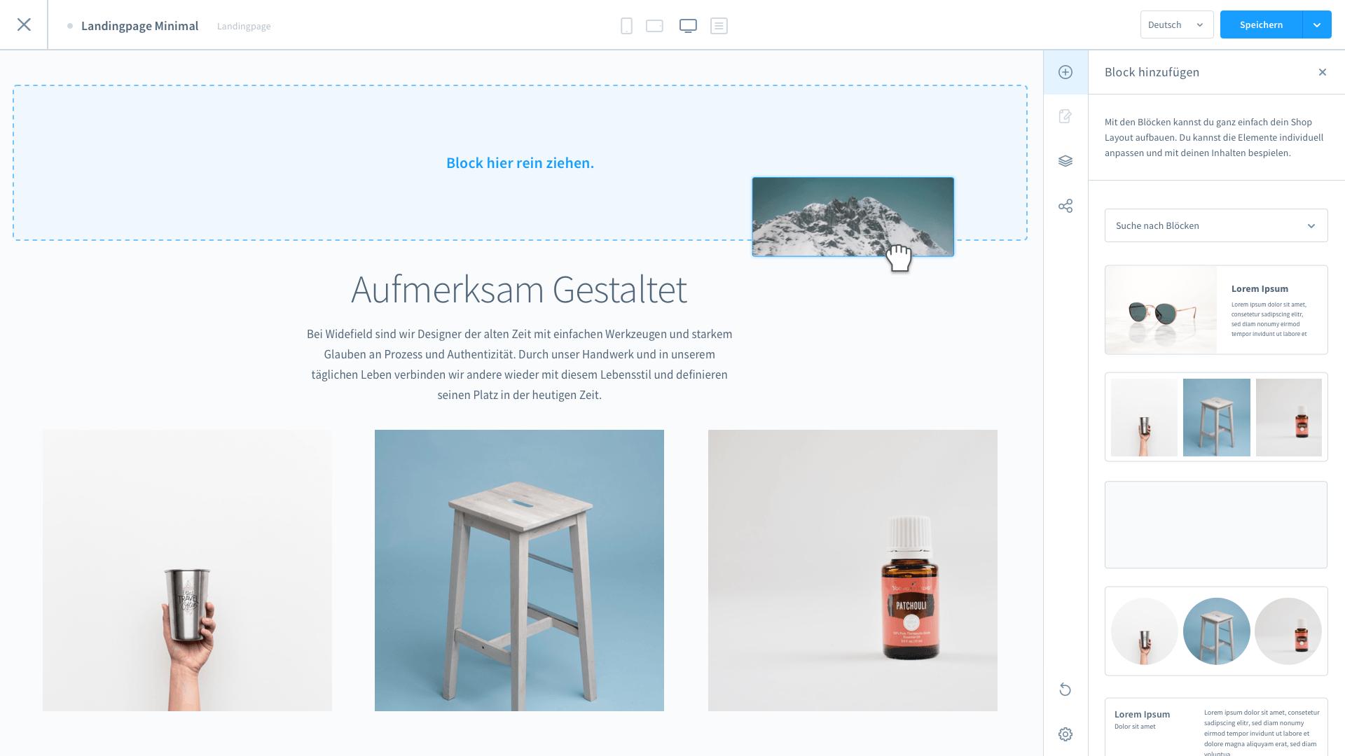 Screenshot Shopware 6 Konfiguration der Erlebniswelten