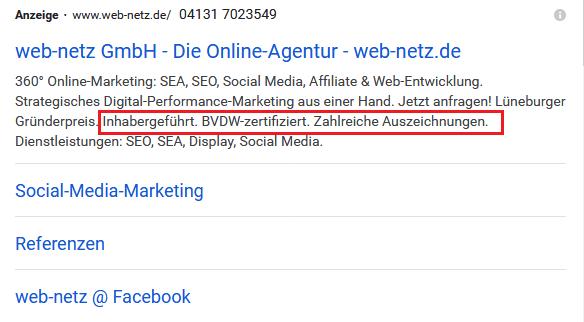 Screenshot Google Ads  Zusatzinformationen von web-netz.de