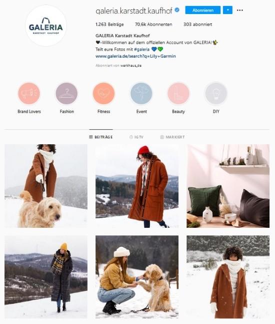 Screenshot Galeria Karstadt Kaufhof Instagram-Profil
