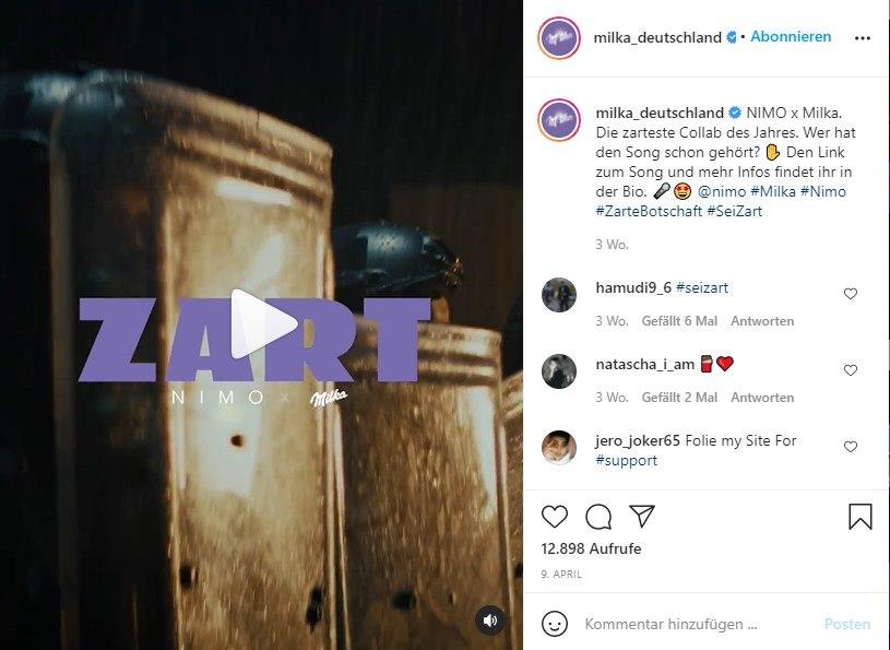 Instagram Video-Beitrag zur Collab von Milka & Nimo