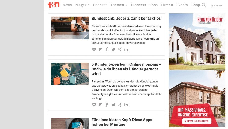 Screenshot der Website t3n