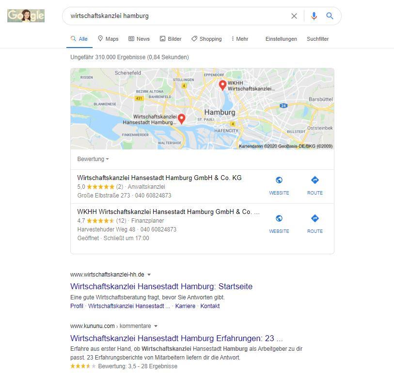 Screenshot des Local Pack zu Wirtschaftskanzlei Hamburg