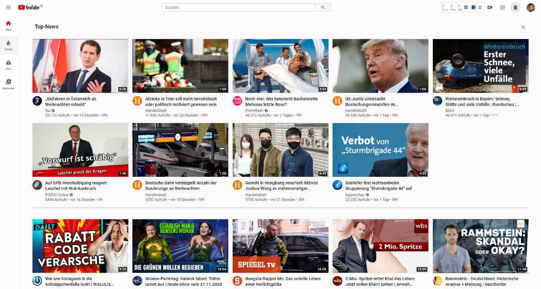 Zu den Top-News auf der YouTube Startseite gehören hier Nachrichten-Videos u.a. von faz, Handelsblatt, tagesschau und Spiegel TV.