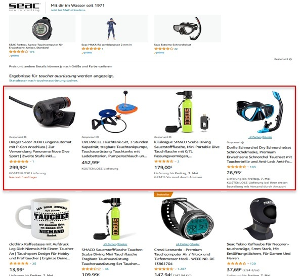 Sponsored Products Anzeigen bei Amazon