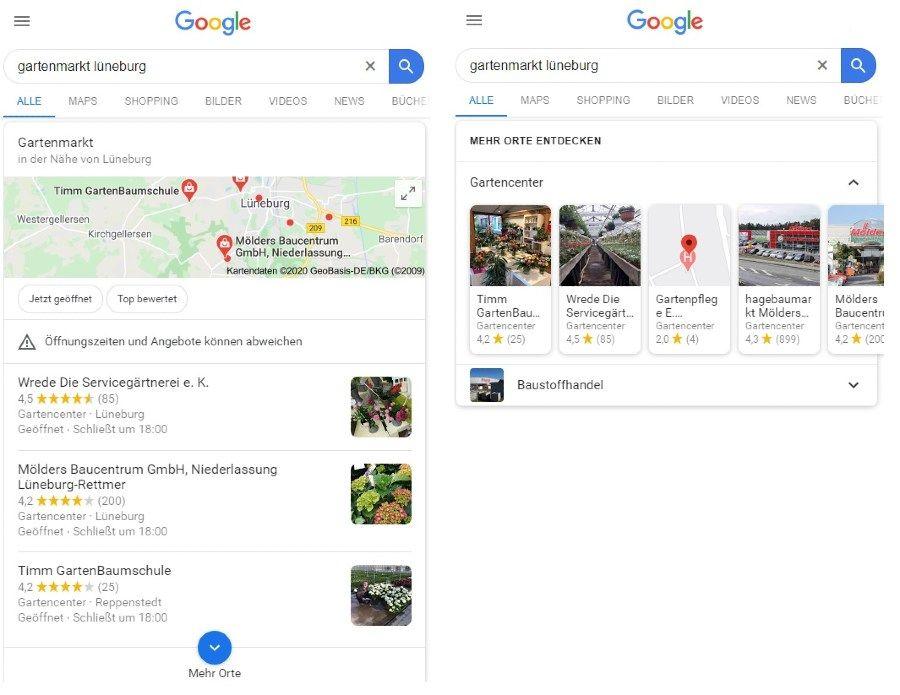 verschiedene Suchergebnisse zu lokalen Suchanfragen