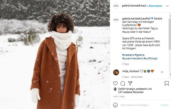 Screenshot Galeria Karstadt Kaufhof Instagram-Post
