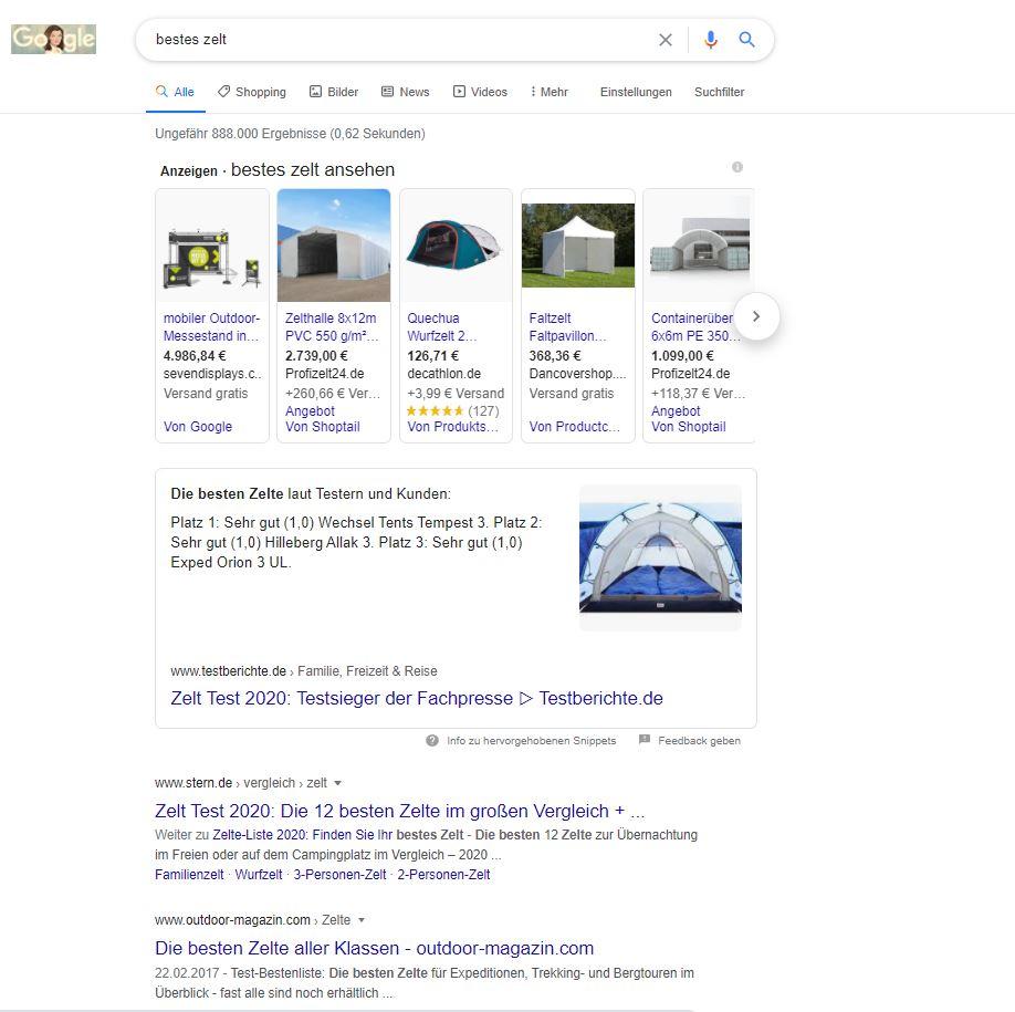 Screenshot der Google SERPs zum Suchbegriff bestes zelt
