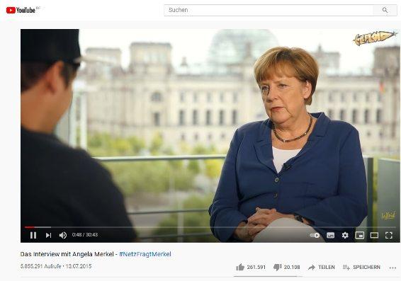 Bundeskanzlerin Angela Merkel im Video-Interview