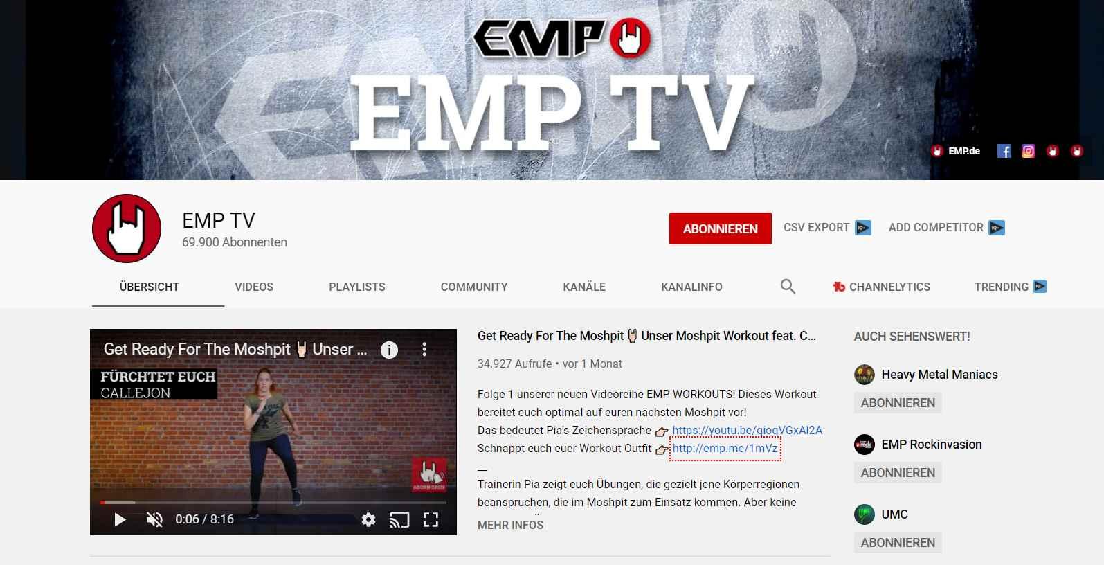 Ansicht des YouTube Kanals des Fanartikel- und Rock-Shops von EMP mit Profil- und Headerbild.