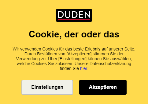 Screenshot Cookie-Banner von duden