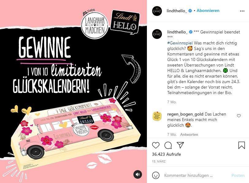 Video-Beitrag auf dem Account des Lindt-Produkts HELLO