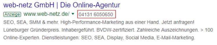 Screenshot Google Ads Anruferweiterung