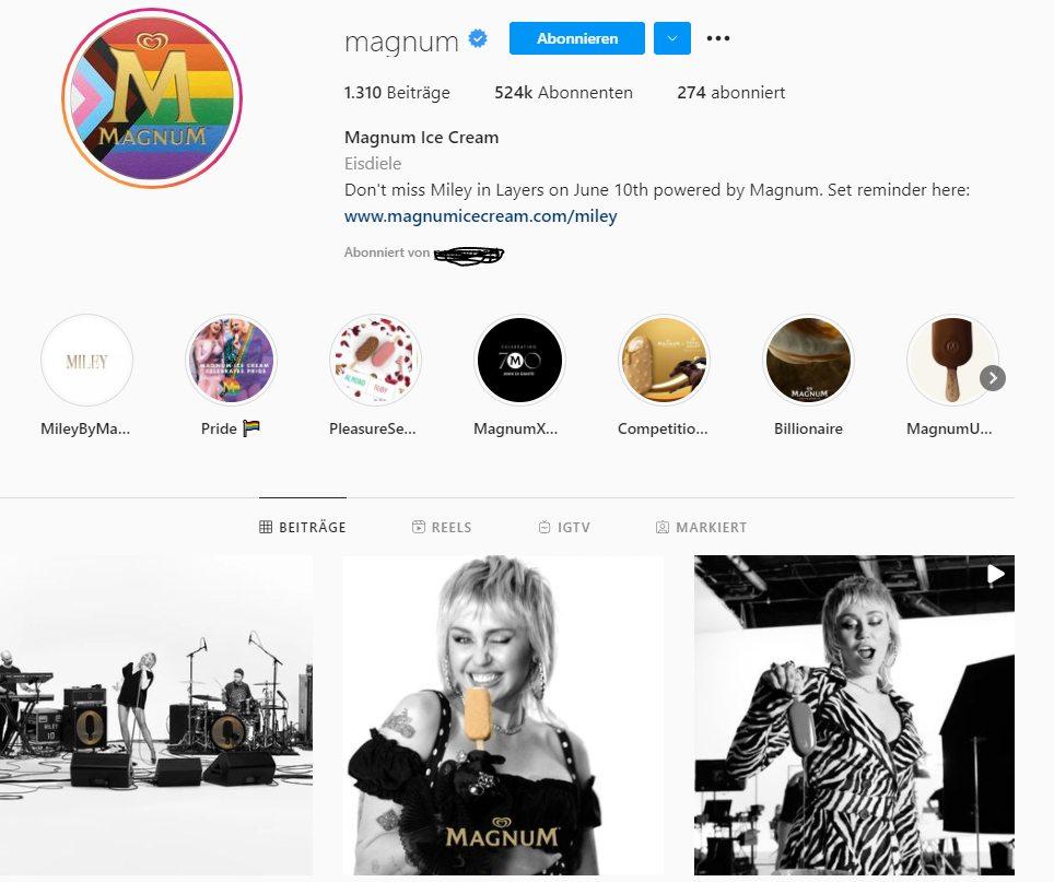 Screenshot Instagram-Profil von Magnum