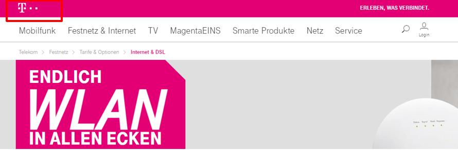 Screenshot des Unternehmenslogos von telekom.de