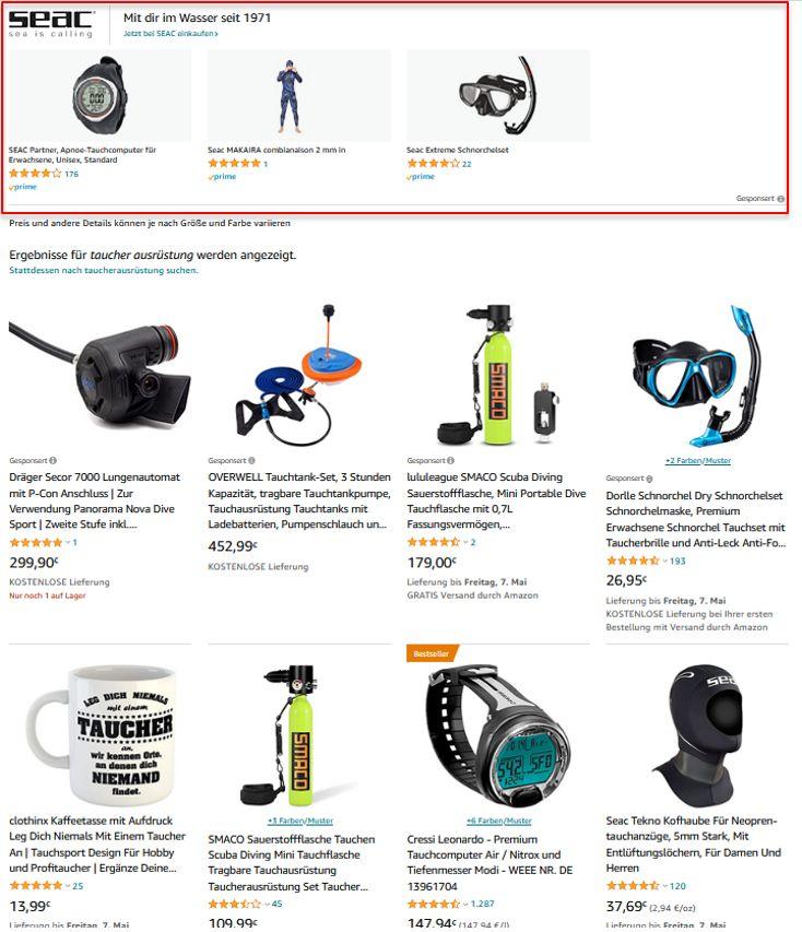 Sponsored Brands Anzeigen bei Amazon