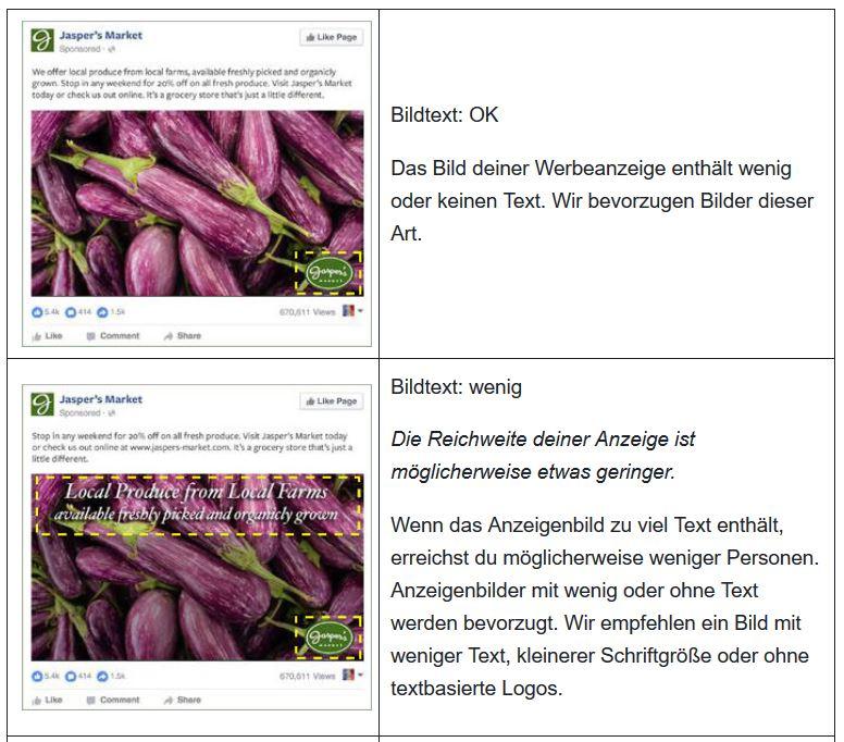 Facebook Werbeanzeigen-Text Beispiel