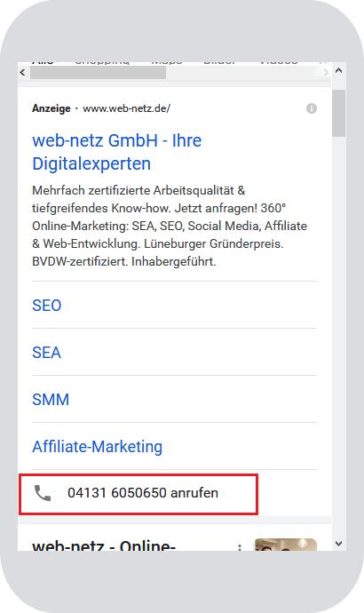Screenshot Google Ads Anruferweiterung von web-netz.de