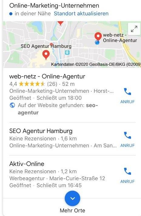 Screenshot Google-Maps von web-netz