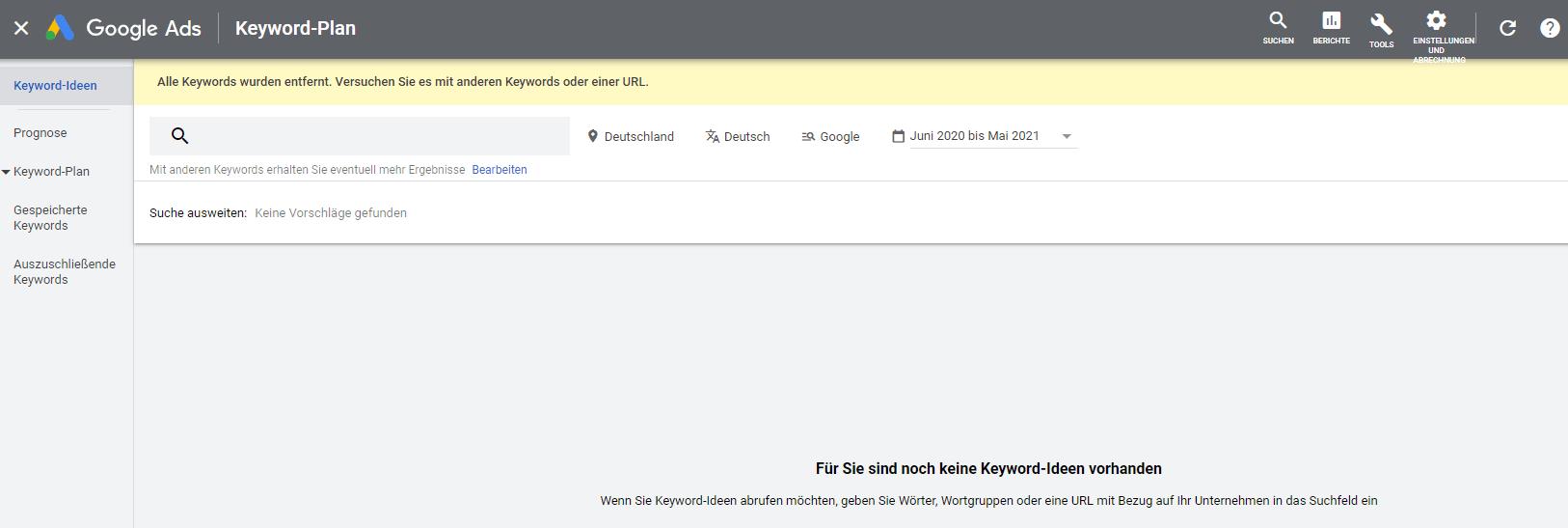 Screenshot Keyword Planner