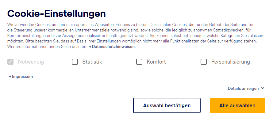 Screenshot Cookie-Banner von lufthansa.de