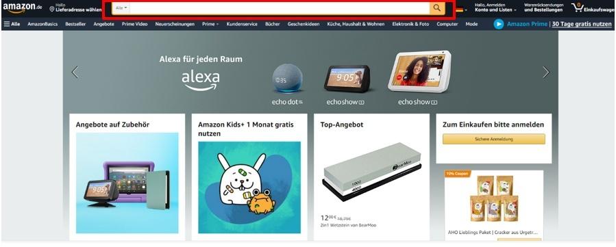 Screenshot von der Suchfunktion auf amazon.de