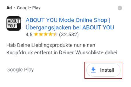 Screenshot Google Ads App-Erweiterung