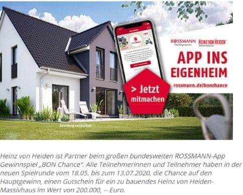 App-ins-Eigenheim-Gewinnspiel in Kooperation mit Rossmann