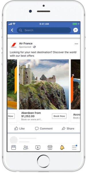 Smartphone mit Screenshot von der Facebook-Seite Air France