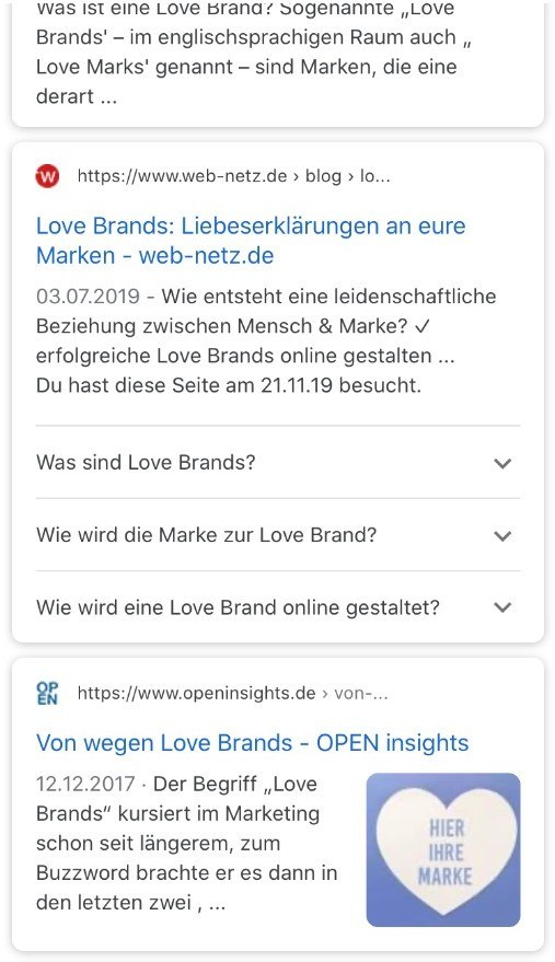 Screenshot einer mobilen Ansicht von Suchergebnissen Rich Snippets