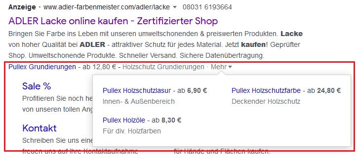Screenshot Preiserweiterung bei ADLER Lacke in der Google Suche