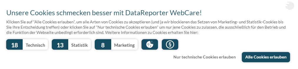 Screenshot Cookie-Banner auf datareporter.eu