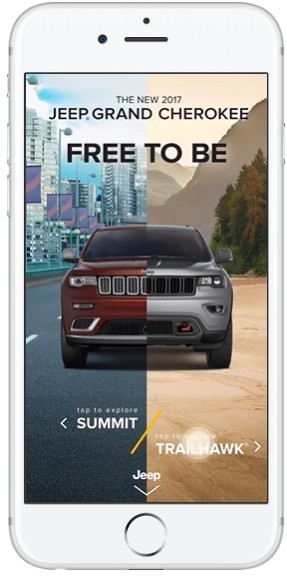 Smartphone mit Screenshot eines Werbeangebotes von Jeep