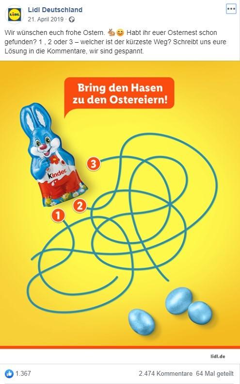 Kinder-Schokoladenosterhase mit drei Ostereiern und Schlangenlinien