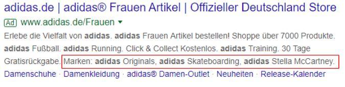 Screenshot Google Ads von adidas
