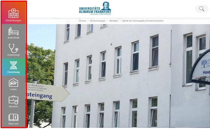 Screenshot der Website-Navigation des Universitätsklinikums Frankfurt