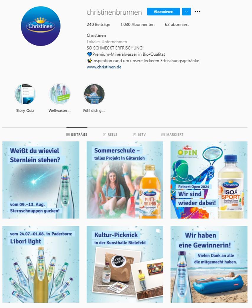 Instagram-Profil von Christinen