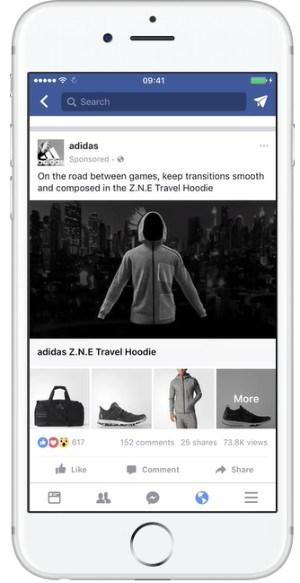 Smartphone mit Screenshot der Facebook-Seite Adidas