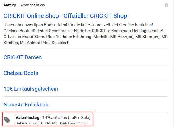 Screenshot Google Ads Angebotserweiterung von crickit.de