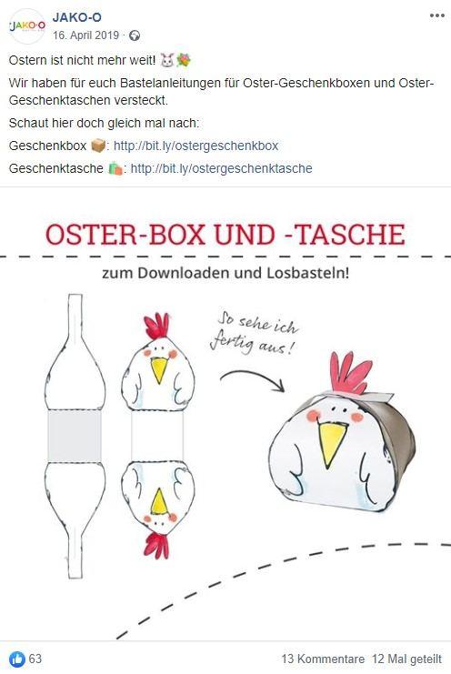 Screenshot von Jako-o Facebook Post zum Thema Oster-Box und -Tasche