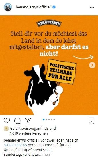 Screenshot Instagram-Beitrag von Ben & Jerry's