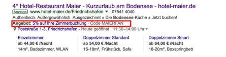 Screenshot Google Ads von Hotel Maier