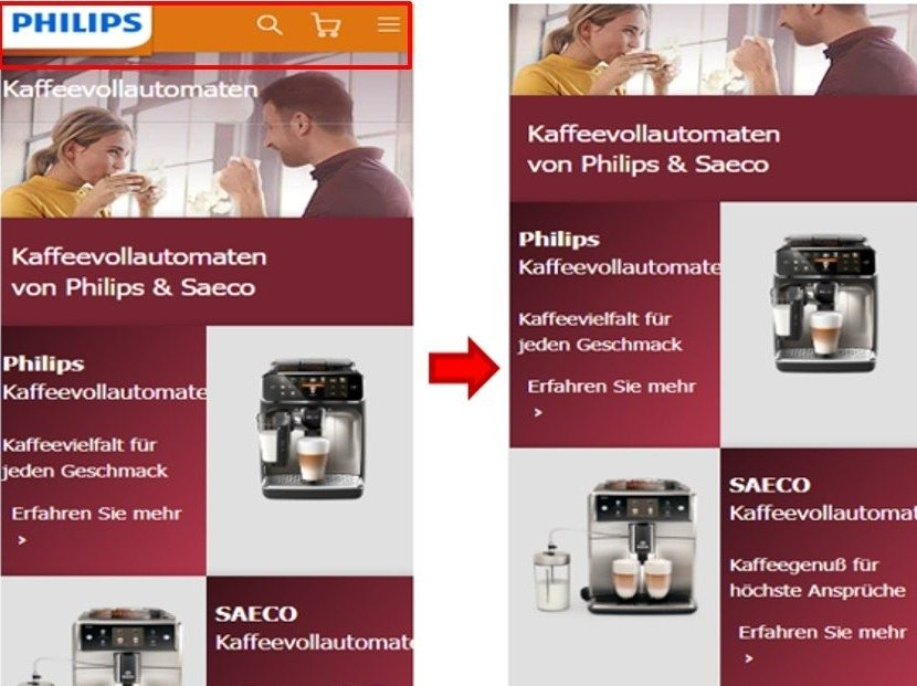 Screenshots der mobilen Website-Version von philips.de