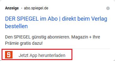 Screenshot Google Ads App-Erweiterung von abo.spiegel.de